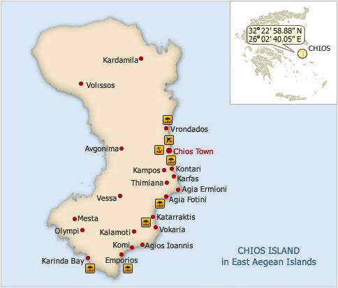 karte chios griechenland Insel Chios Griechenland   Urlaubsziel 2011