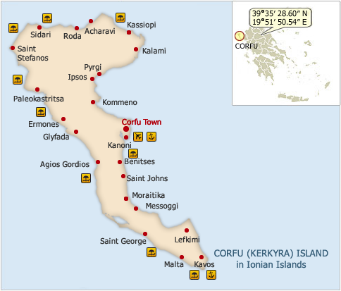 Map of Kerkyra Island